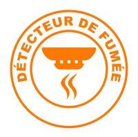 detecteur de fume sur bouton web rond orange